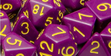 Set of 7 Polyhedral Dice: Opaque Dark Purple with Gold Numbers