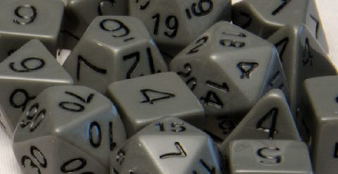 Set of 15 Polyhedral Dice: Opaque Dark Gray with Black Numbers