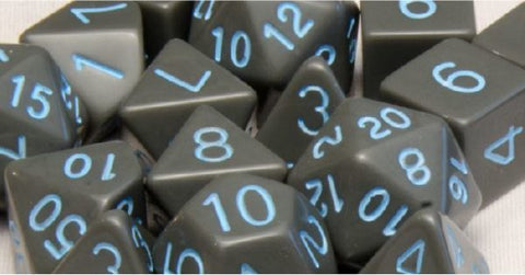 Set of 15 Polyhedral Dice: Opaque Dark Gray with Light Blue Numbers
