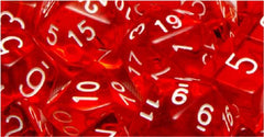 Set of 15 Polyhedral Dice: Translucent Red with White Numbers