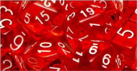 Set of 7 Polyhedral Dice: Translucent Red with White Numbers