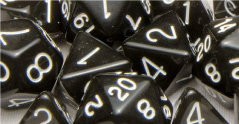 Set of 15 Polyhedral Dice: Translucent Black (Smoke) with White Numbers