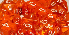 Set of 7 Polyhedral Dice: Translucent Orange with White Numbers