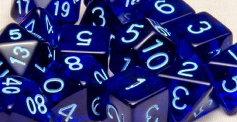 Set of 15 Polyhedral Dice: Translucent Dark Blue with Light Blue Numbers