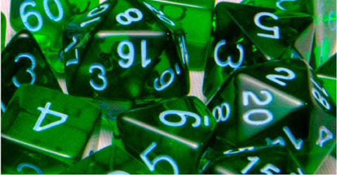 Set of 7 Polyhedral Dice: Translucent Dark Green with Light Blue Numbers