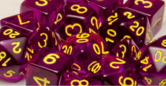 Set of 15 Polyhedral Dice: Translucent Dark Purple with Gold Numbers