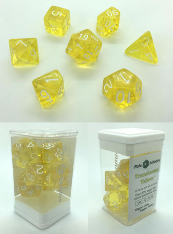 Set of 7 Polyhedral Dice: Translucent Yellow