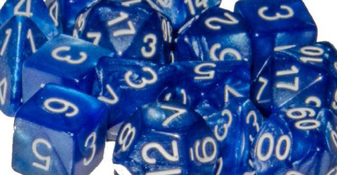 Set of 15 Polyhedral Dice: Marble Blue with White Numbers