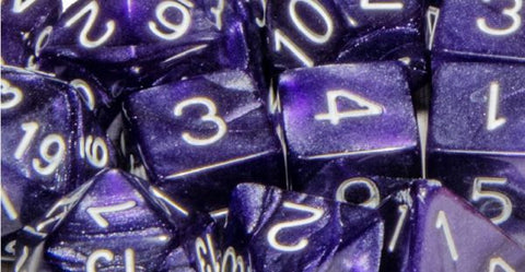 Set of 15 Polyhedral Dice: Marble Purple with White Numbers