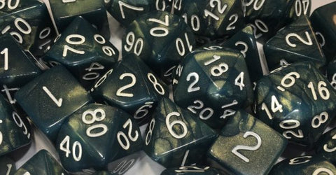 Set of 7 Polyhedral Dice: Sea Dragon Shimmer with White Numbers