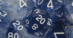 Set of 15 Polyhedral Dice - Diffusion Blue Ink w/ White Numbers