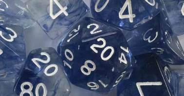 Set of 7 Polyhedral Dice - Diffusion Blue Ink w/ White Numbers