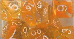 Set of 15 Polyhedral Dice - Diffusion Citrus w/ White Numbers