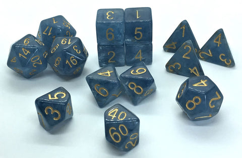 Set of 15 Polyhedral Dice : Blue Jade Shoes™