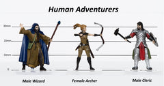 Characters of Adventure: Human Adventurers Group of 3 - Set B - Archer, Wizard, Ranger