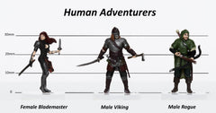 Characters of Adventure: Human Adventurers Group of 3 - Set C - Blademaster, Cleric, Viking