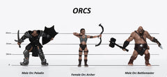 Characters of Adventure: Orcs Group of 3 - Set B - Archer, Paladin, Battlemaster