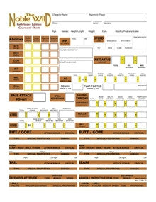 The Noble Wild Character Sheets (Pathfinder Edition) PDF