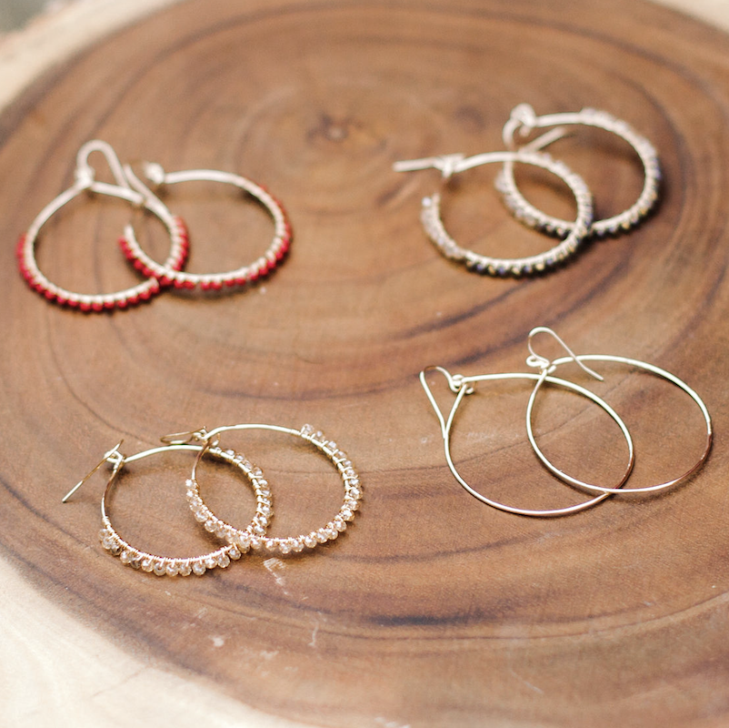 Beaded Ollie Hoops