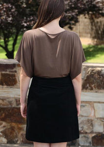 Cord Skirt with Buttons in Black