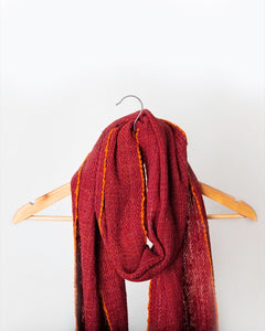 Rusty Red with orange edged stitching Himalayan Scarf