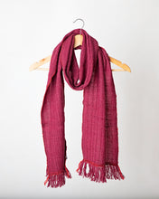 Load image into Gallery viewer, Burgundy with red stitching detail Himalayan Scarf
