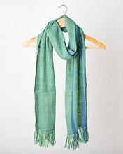 Load image into Gallery viewer, Muted Green and Blue wool silk scarf