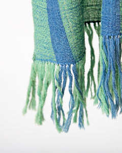 Muted Green and Blue wool silk scarf