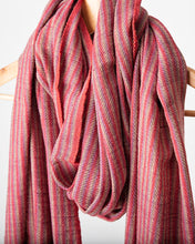 Load image into Gallery viewer, Mauve and Rose Stripe Himalayan Shawl