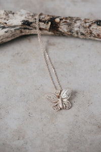 Sterling Silver Butterfly Drop Necklace