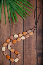 Load image into Gallery viewer, Flat Drop Long Wooden Necklace Naturals