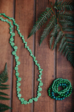 Load image into Gallery viewer, Wooden Smarties Long Necklace Fern Green