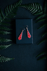 Delicate Geometric Red Coral and Silver Earrings