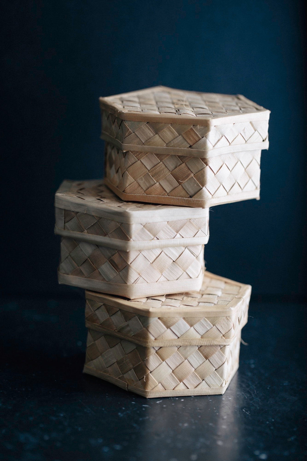 Hexagon Bamboo Small Boxes