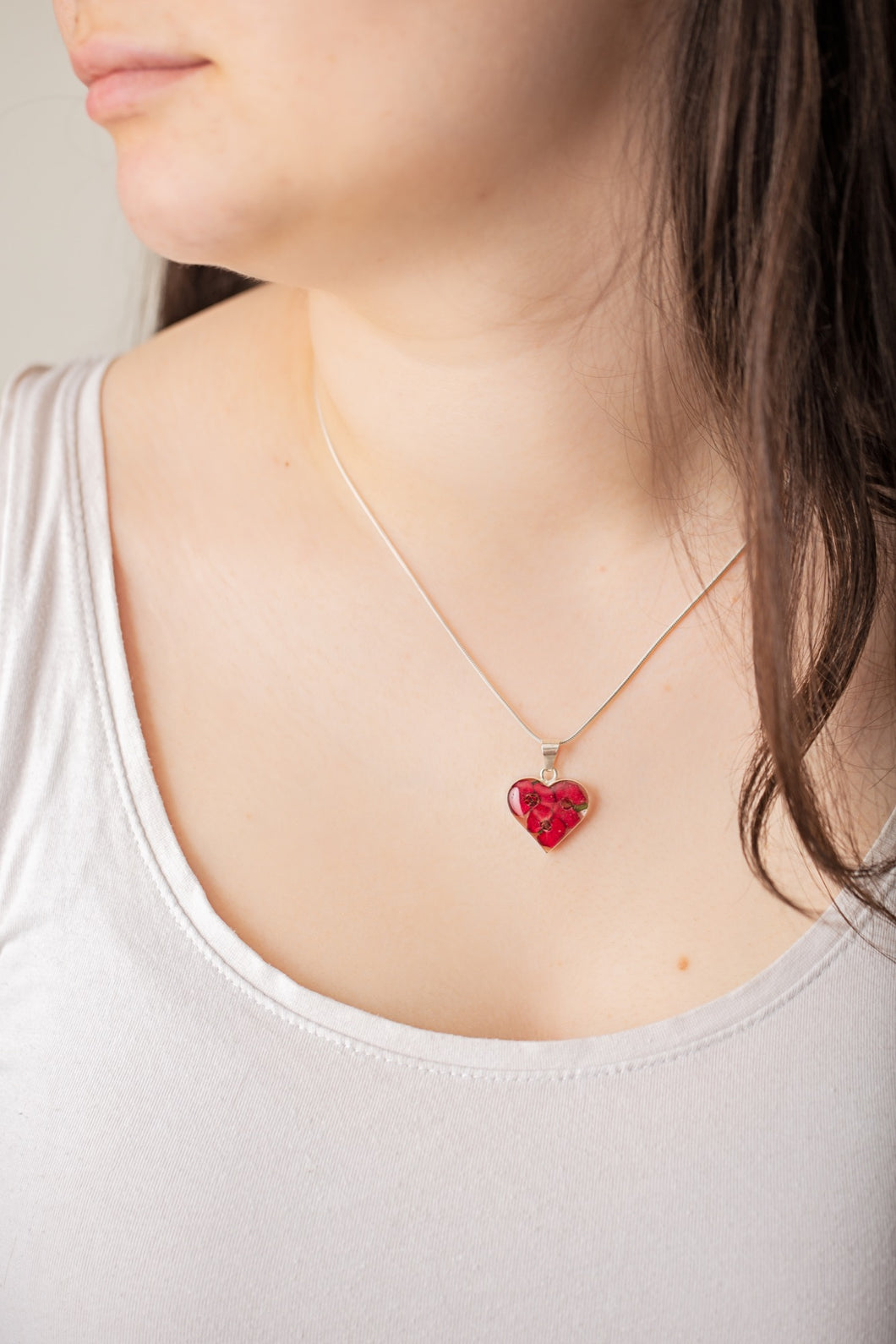 Red Mexican Flowers Small Heart Necklace