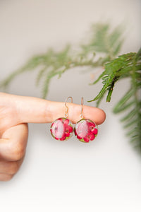 Red Mexican Flowers Medium Round Drop Earrings