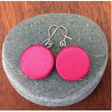 Load image into Gallery viewer, Lucinda Wooden Disc Hook Earrings - 10 Colour Variants