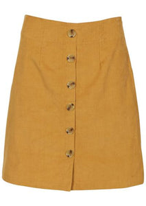 Cord Skirt with Buttons in Mustard