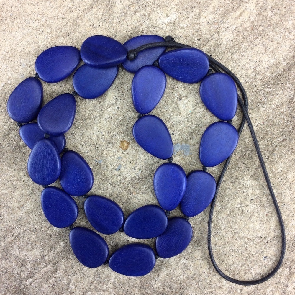Flat Drop Long Wooden Necklace Cobalt Blue