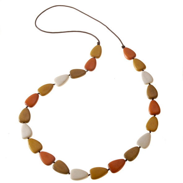 Flat Drop Long Wooden Necklace Natural Combo