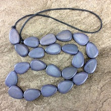 Flat Drop Long Wooden Necklace Grey