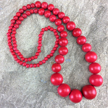 Load image into Gallery viewer, Lola Long Wooden Necklace (many colour options)