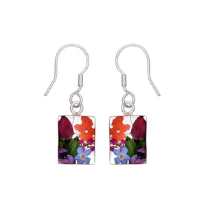 Garden Mexican Flowers Rectangle Drop Small Hook Earrings