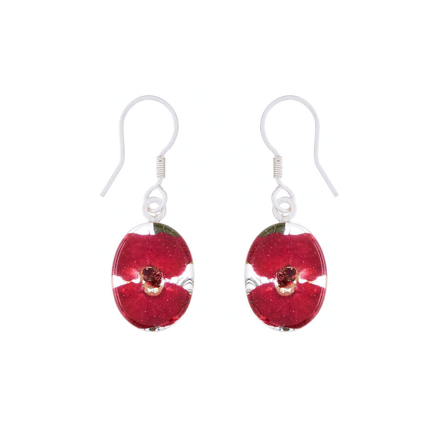 Red Mexican Flowers Oval Small Hook Earrings