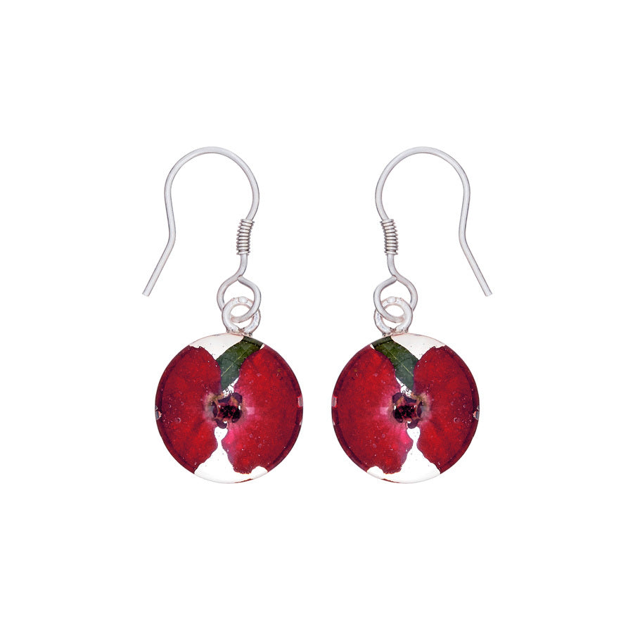 Red Mexican Flowers Small Round Hook Earrings