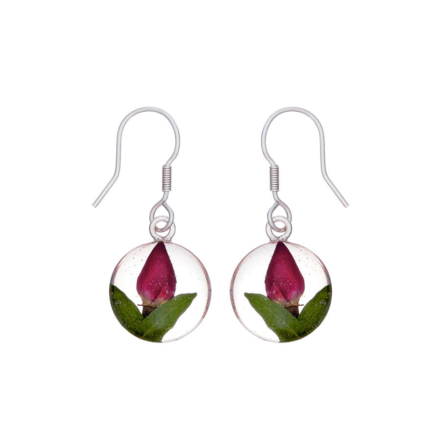 Single Rose Mexican Flowers Small Round Hook Earrings