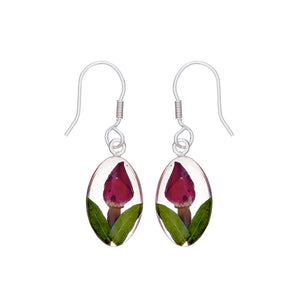 Single Rose Mexican Flowers Seed Small Hook Earrings