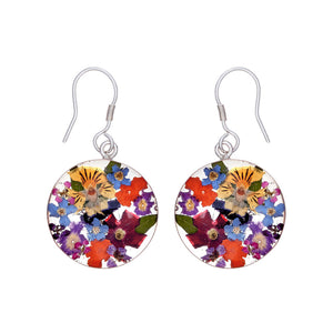 Garden Mexican Flowers Small Round Drop Earrings