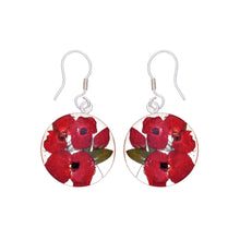Load image into Gallery viewer, Red Mexican Flowers Medium Round Drop Earrings
