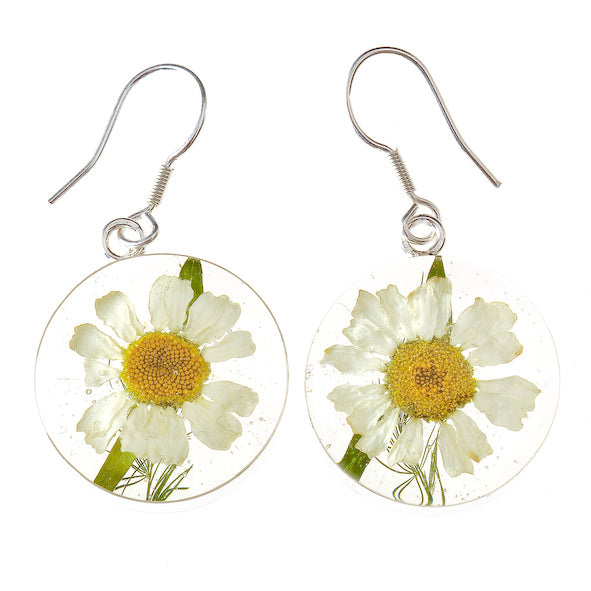 Daisy Mexican Flowers Medium Round Hook Earrings